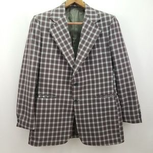 The Men's Store Vtg Plaid Jacket Stained Collar